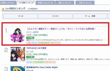 【メスイキ】催眠オナニーマニュアルが月間ランキング1位獲得!